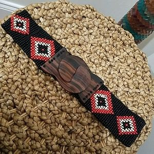 Beaded Belt with Wooden Buckle